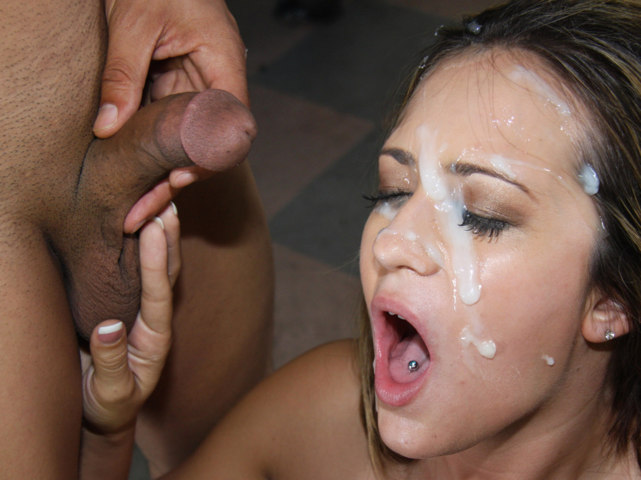 shot cock White cum black girls